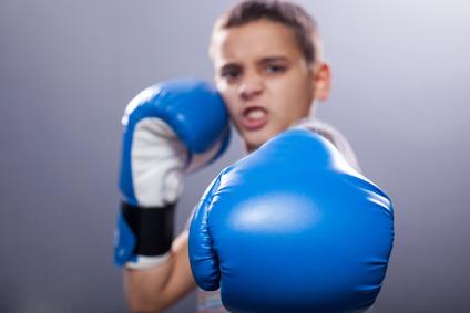 Ein junger Boxer mit blauen Handschuhen